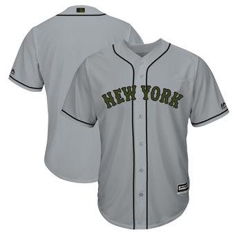 Men's New York Mets Majestic Gray 2018 Memorial Day Cool Base Team Custom Jersey