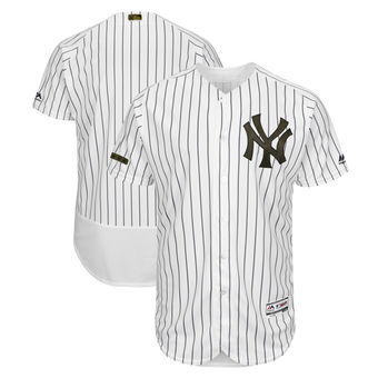 Men's New York Yankees Majestic White 2018 Memorial Day Authentic Collection Flex Base Team Custom Jersey