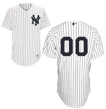 Men's New York Yankees White Strips Authentic Customized Baseball Jersey