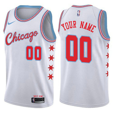 Men's Nike Chicago Bulls Customized Authentic White NBA City Edition Jersey