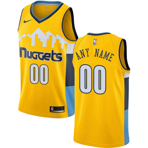 Men's Nike Denver Nuggets Customized Authentic Gold Alternate NBA Statement Edition Jersey
