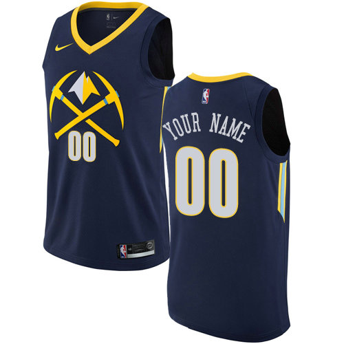 Men's Nike Denver Nuggets Customized Swingman Navy Blue NBA City Edition Jersey