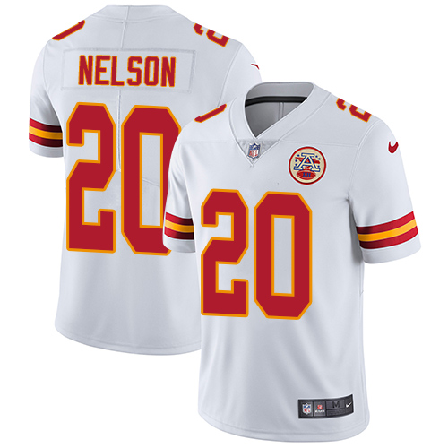 Men's Nike Kansas City Chiefs #20 Steven Nelson White Vapor Untouchable Limited Jersey
