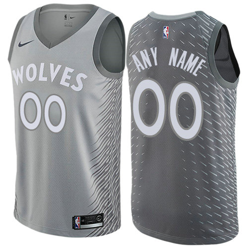 Men's Nike Minnesota Timberwolves Customized Authentic Gray NBA City Edition Jersey
