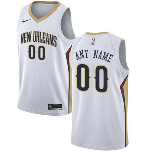 Men's Nike New Orleans Pelicans Customized Swingman White Home NBA Association Edition Jersey