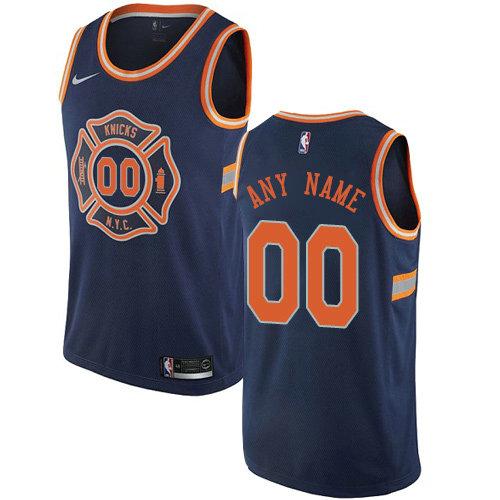 Men's Nike New York Knicks Customized Swingman Navy Blue NBA City Edition Jersey