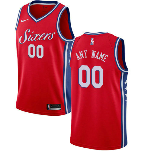 Men's Nike Philadelphia 76ers Customized Swingman Red Alternate NBA Statement Edition Jersey