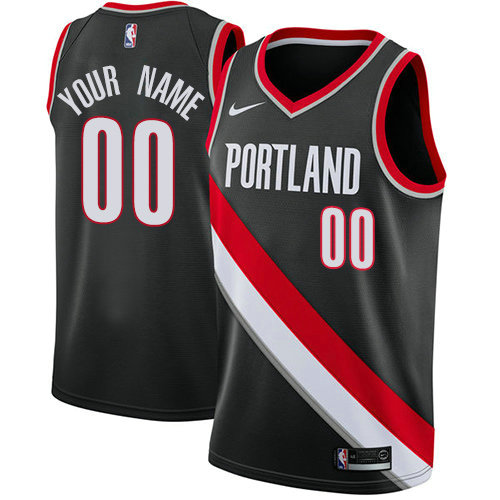Men's Nike Portland Trail Blazers Customized Swingman Black Road NBA Icon Edition Jersey