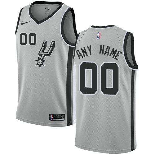 Men's Nike San Antonio Spurs Customized Swingman Silver Alternate NBA Statement Edition Jersey