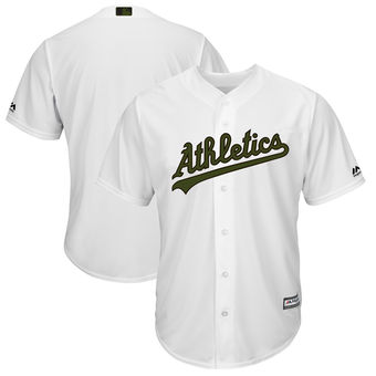 Men's Oakland Athletics Majestic White 2018 Memorial Day Cool Base Team Custom Jersey