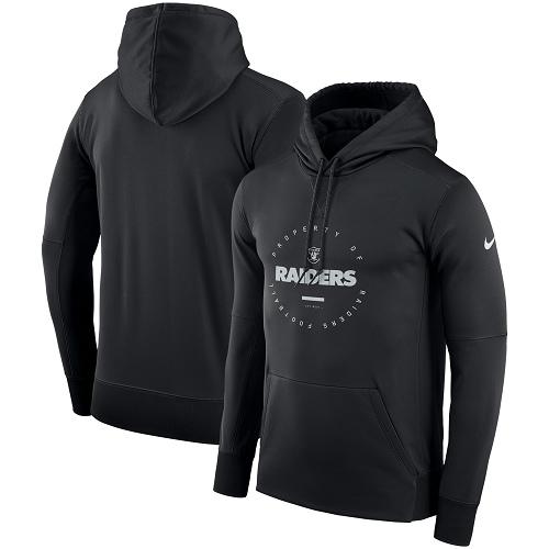 Men's Oakland Raiders Nike Black Sideline Property Of Wordmark Logo Performance Pullover Hoodie