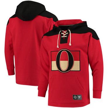 Men's Ottawa Senators Fanatics Branded Red Black Breakaway Lace Up Hoodie