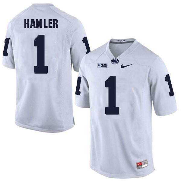 Men's Penn State Nittany Lions #1 KJ Hamler NCAA White Stitched Jersey