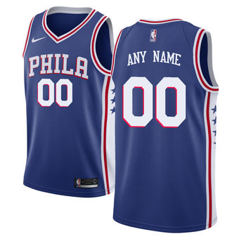 Men's Philadelphia 76ers Nike Blue Swingman Custom Icon Edition Jersey