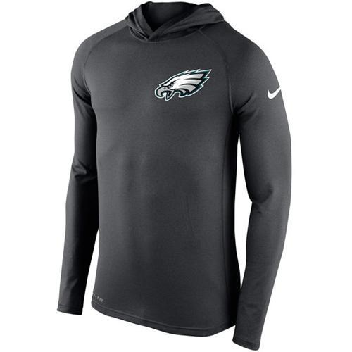 Men's Philadelphia Eagles Nike Charcoal Stadium Touch Hooded Performance Long Sleeve T-Shirt