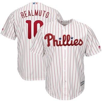 Men's Philadelphia Phillies #10 JT Realmuto White Home Cool Base Jersey