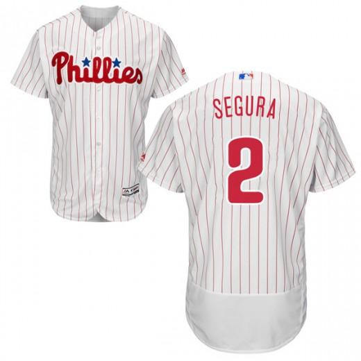 Men's Philadelphia Phillies #2 Jean Segura White Flex Base Home Jersey