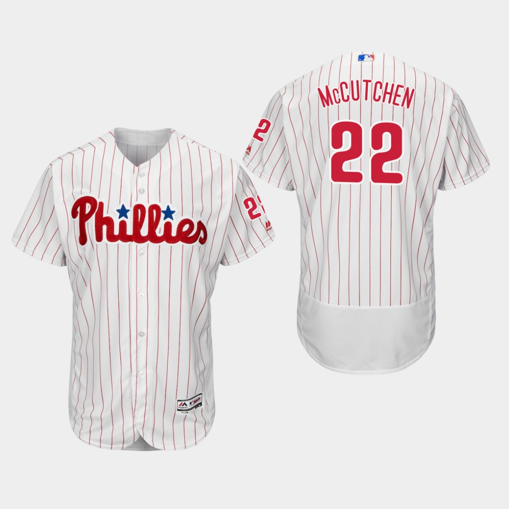 Men's Philadelphia Phillies #22 Andrew McCutchen White Scarlet FlexBase Jersey