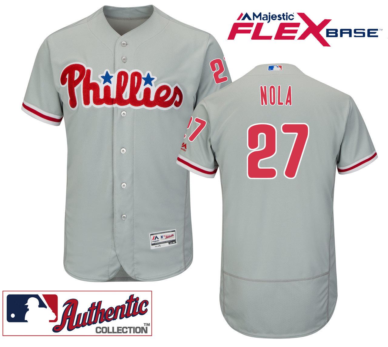 Men's Philadelphia Phillies #27 Aaron Nola Replica Grey Road Flexbase MLB Jersey