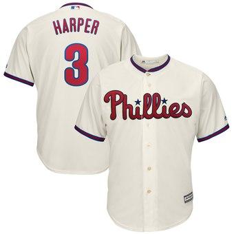 Men's Philadelphia Phillies #3 Bryce Harper Cream Alternate Cool Base Jersey