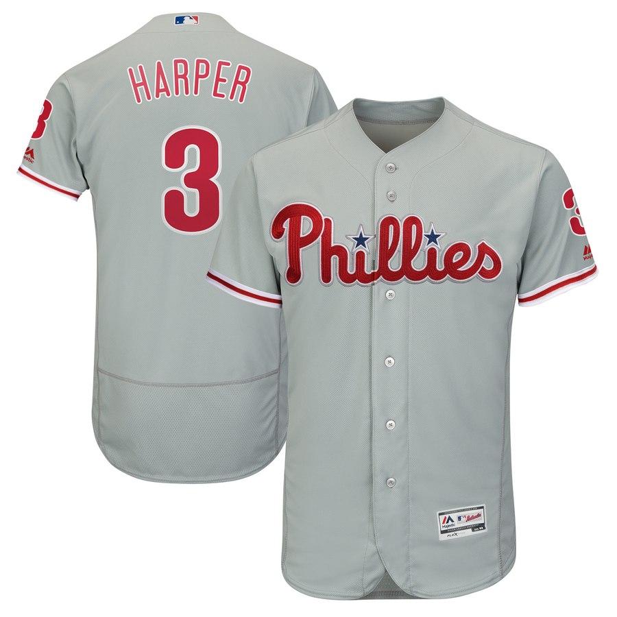 Men's Philadelphia Phillies #3 Bryce Harper Gray Road Flexbase Jersey