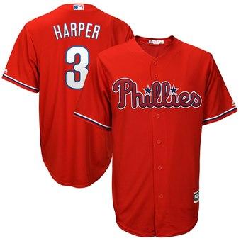 Men's Philadelphia Phillies #3 Bryce Harper Majestic Scarlet Cool Base Jersey