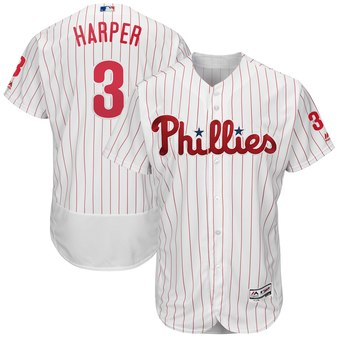 Men's Philadelphia Phillies #3 Bryce Harper White Home Flexbase Jersey