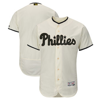 Men's Philadelphia Phillies Majestic Cream 2018 Memorial Day Authentic Collection Flex Base Team Custom Jersey