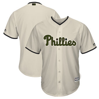 Men's Philadelphia Phillies Majestic Cream 2018 Memorial Day Cool Base Team Custom Jersey