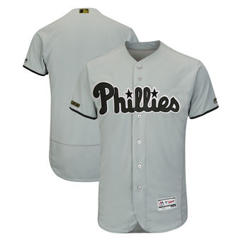 Men's Philadelphia Phillies Majestic Gray 2018 Memorial Day Authentic Collection Flex Base Team Custom Jersey