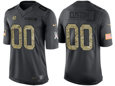 Men's Pittsburgh Steelers Anthracite Customized Camo 2016 Salute to Service Jersey