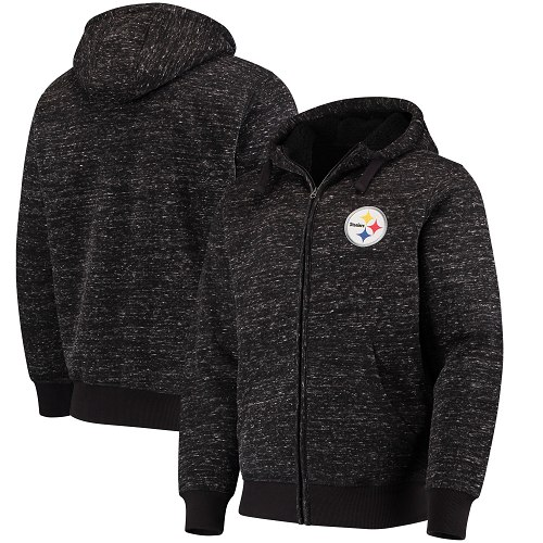 Men's Pittsburgh Steelers G-III Sports by Carl Banks Heathered Black Discovery Sherpa Full-Zip Jacket