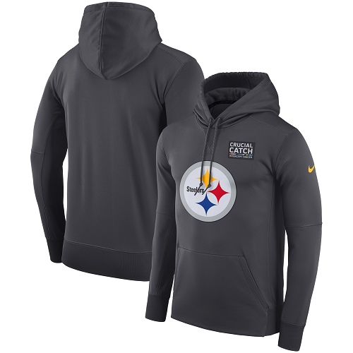 Men's Pittsburgh Steelers Nike Anthracite Crucial Catch Performance Pullover Hoodie