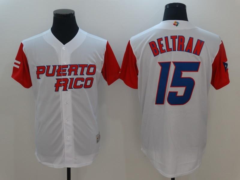 Men's Puerto Rico Baseball 15 Carlos Beltran White 2017 Worl Baseball Classic Jersey