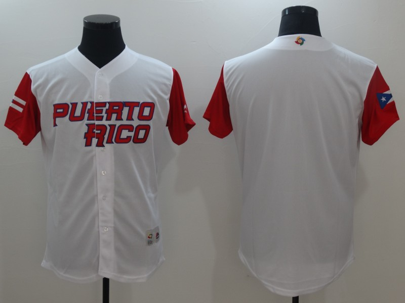 Men's Puerto Rico Baseball Majestic White Blank 2017 World Baseball Classic Team Jersey