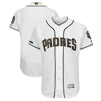 Men's San Diego Padres Majestic White 2018 Memorial Day Authentic Collection Flex Base Team Custom Jersey