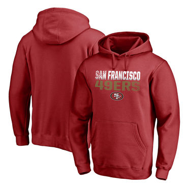 Men's San Francisco 49ers NFL Pro Line By Fanatics Branded Scarlet Iconic Collection Fade Out Pullover Hoodie