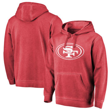 Men's San Francisco 49ers NFL Pro Line By Fanatics Branded Scarlet White Logo Shadow Washed Pullover Hoodie