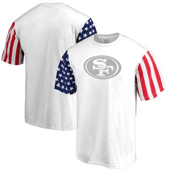 Men's San Francisco 49ers NFL Pro Line By Fanatics Branded White Stars & Stripes T-Shirt
