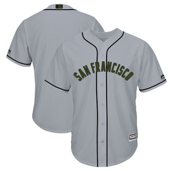 Men's San Francisco Giants Majestic Gray 2018 Memorial Day Cool Base Team Custom Jersey