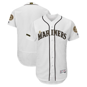 Men's Seattle Mariners Majestic White 2018 Memorial Day Authentic Collection Flex Base Team Custom Jersey