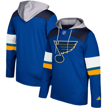 Men's St. Louis Blues Adidas Blue Silver Jersey Pullover Hoodie