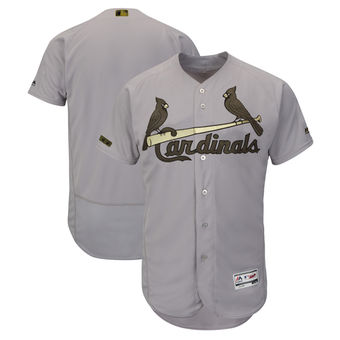 Men's St. Louis Cardinals Majestic Gray 2018 Memorial Day Authentic Collection Flex Base Team Custom Jersey