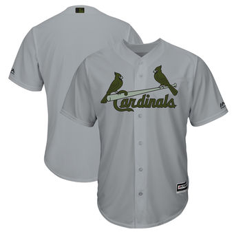 Men's St. Louis Cardinals Majestic Gray 2018 Memorial Day Cool Base Team Custom Jersey