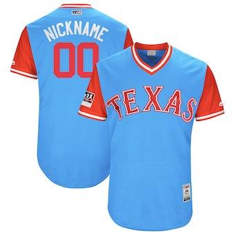 Men's Texas Rangers Majestic Light Blue 2018 Players' Weekend Authentic Flex Base Custom Jersey