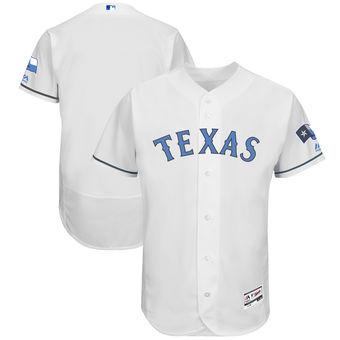 Men's Texas Rangers Majestic White Father's Day FlexBase Team Jersey