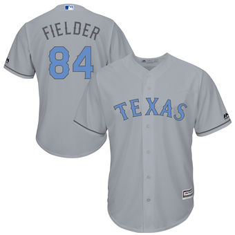 Men's Texas Rangers Prince Fielder Majestic Gray Father's Day Cool Base Replica Jersey