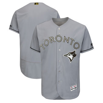 Men's Toronto Blue Jays Majestic Gray 2018 Memorial Day Authentic Collection Flex Base Team Custom Jersey