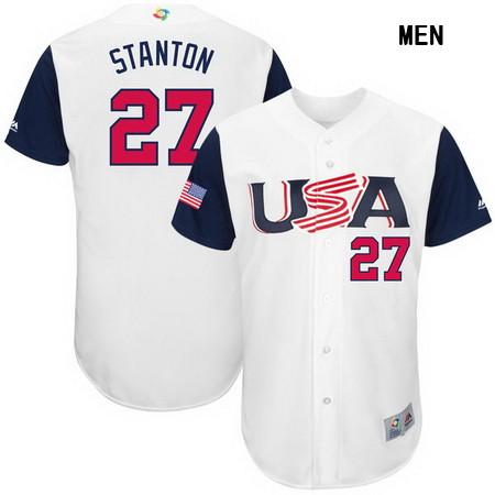 Men's USA Baseball #27 Giancarlo Stanton Majestic White 2017 World Baseball Classic Stitched Authentic Jersey