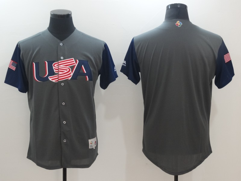 Men's USA Baseball Majestic Gray Blank 2017 World Baseball Classic Team Jersey